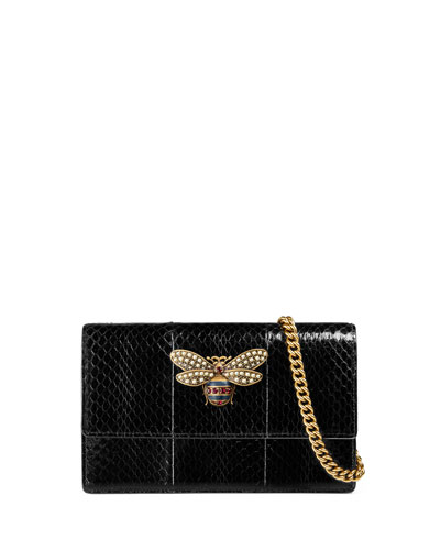 Queen Margaret Snakeskin Wallet on Chain with Bee