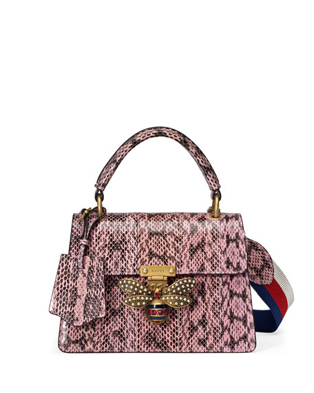 178bbdd0e39 Gucci Queen Margaret Small Snakeskin Top-Handle Bag