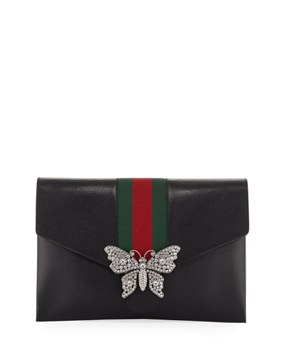 Linea Totem Leather Clutch Bag with Web & Butterfly