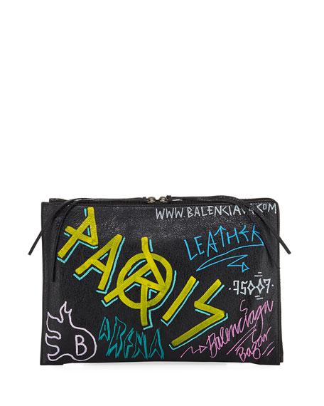 Classic Graffiti Leather Pouch Bag