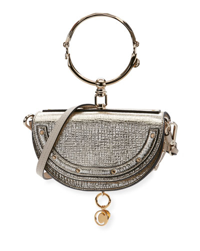 Nile Small Metallic Bracelet Minaudiere Bag