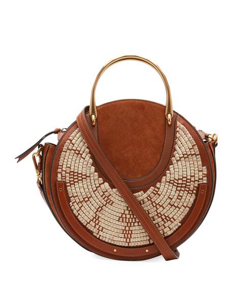 Chloe Pixie Medium Round Woven Shoulder Bag
