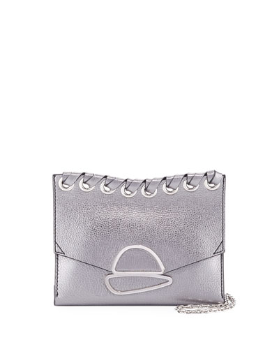 Small Curl Metallic Whipstitch Clutch Bag