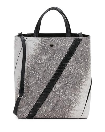 Medium Hex Lizard-Embossed Bucket Bag