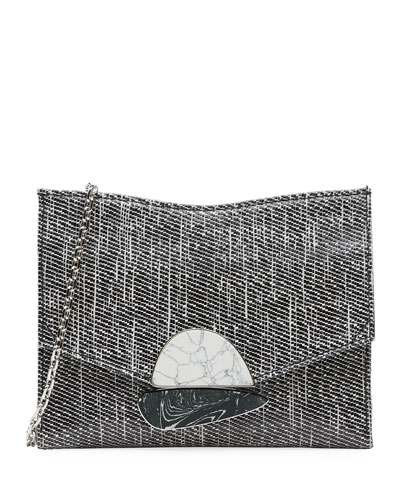 Small Curl Glossy Tweed Clutch Bag