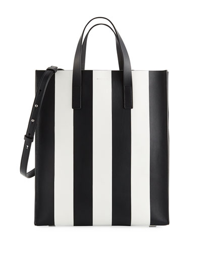 Large Striped North-South Tote Bag