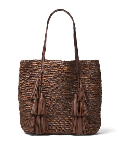 Santorini Raffia Tote Bag, Medium Beige