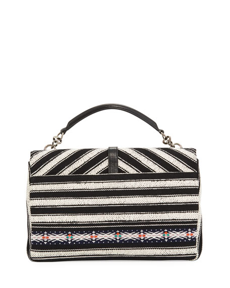 College Large Striped Flap-Top Bag