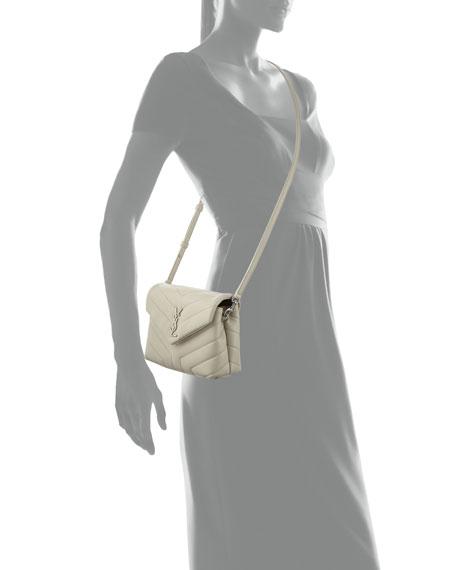 b8194b377da1 Loulou Monogram YSL Mini V-Flap Calf Leather Crossbody Bag - Nickel Oxide  Hardware