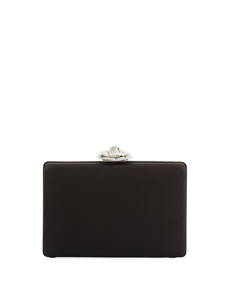 Rogan Satin Crystal Rose Clutch Bag
