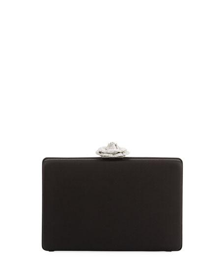Rogan Satin Crystal Rose Clutch Bag
