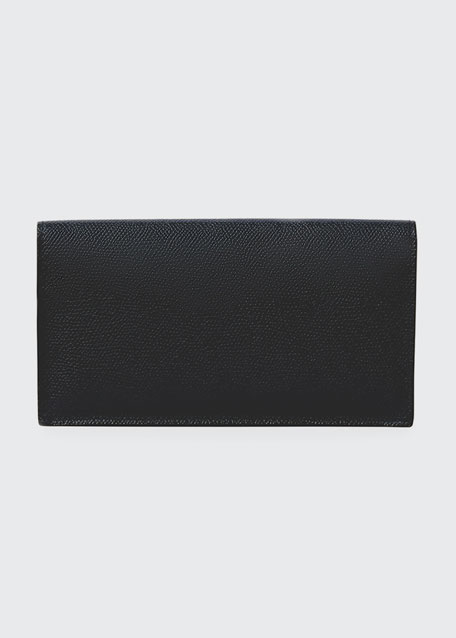 Textured Leather Flap Wallet