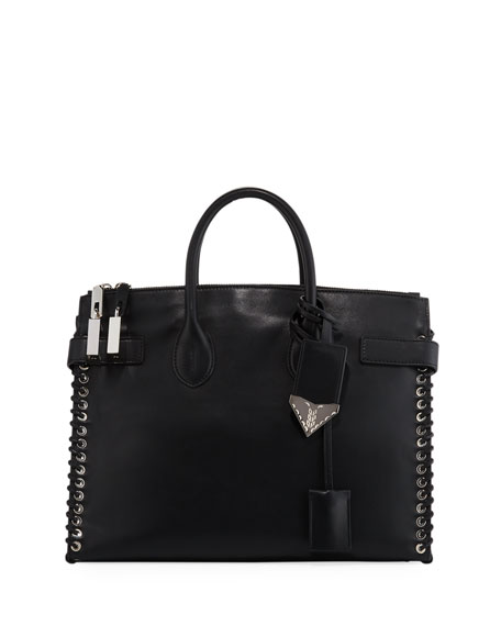 Large Whipstitch Calfskin Tote - Black