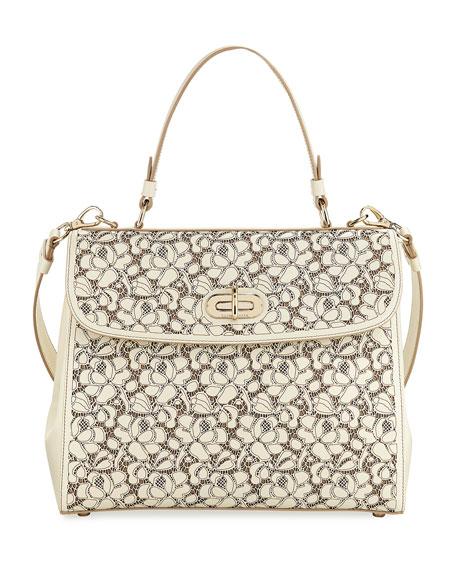 Tiffin 33 Laser-Cut Leather Lace Satchel Bag