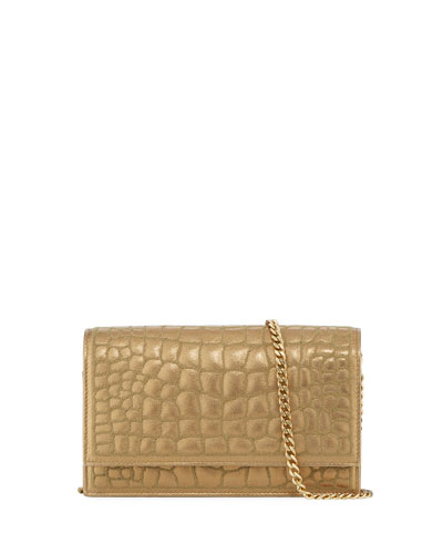 Quilted Croc-Embossed Leather Chain Shoulder Bag