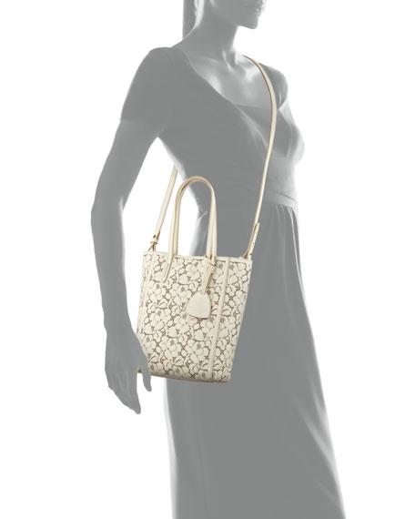 Laser-Cut Lace Mini Modern Leather Tote Bag