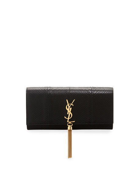 c3d0964deb39 Saint Laurent Monogram YSL Kate Python Full-Flap Clutch Bag