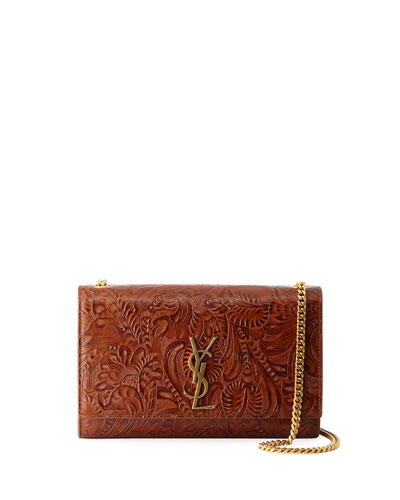 Monogram Kate Embossed Leather Shoulder Bag