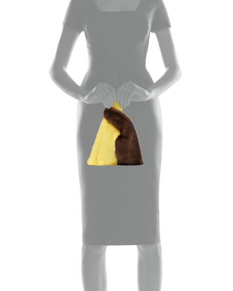 Mini Mink Fur Shopper Tote Bag, Black/White/Dark Brown/Lemon Sorbet
