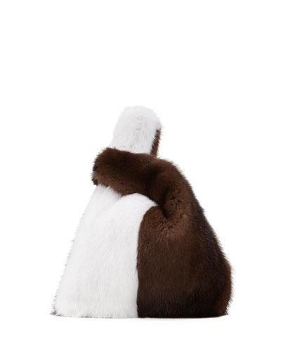 Mini Mink Fur Shopper Tote Bag, Black/White/Dark Brown