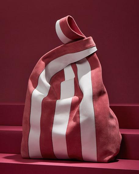 Suede & Leather Stripe Shopper Tote Bag