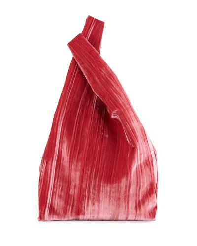 Rolled Velvet Shopper Tote Bag