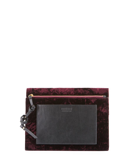 Soft Clutch Bag in Folded Velvet