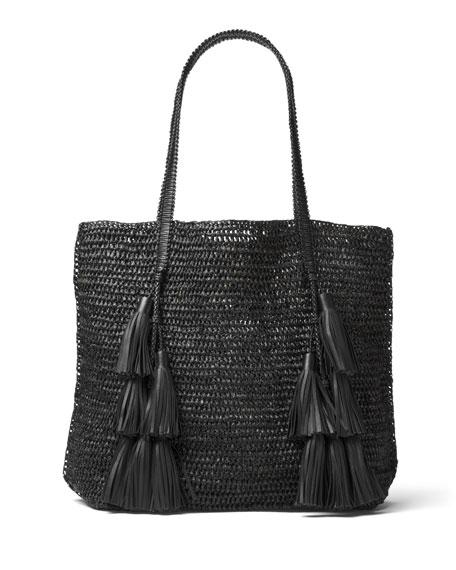 Santorini Raffia Tote Bag, Black