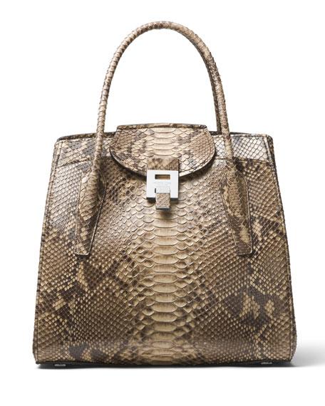 ... Michael Kors Collection Bancroft Large Python Satchel Bag ... 056fc9bbb796d