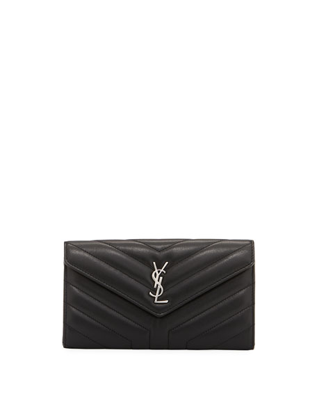 Saint Laurent Loulou Monogram YSL Continental V-Flap Wallet
