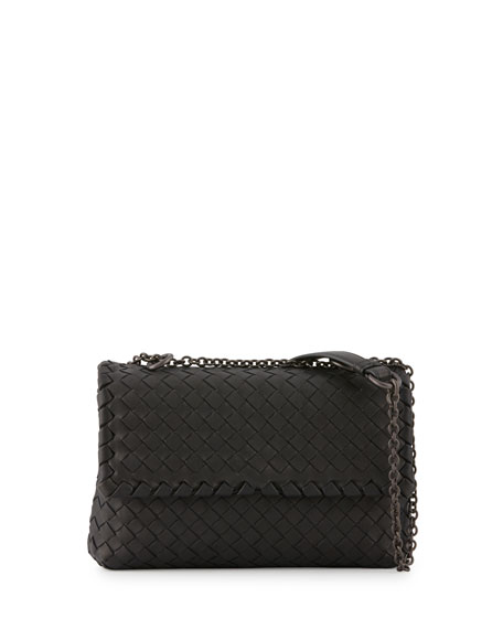 5a30eed624a Bottega Veneta Baby Olimpia Intrecciato Shoulder Bag, Black