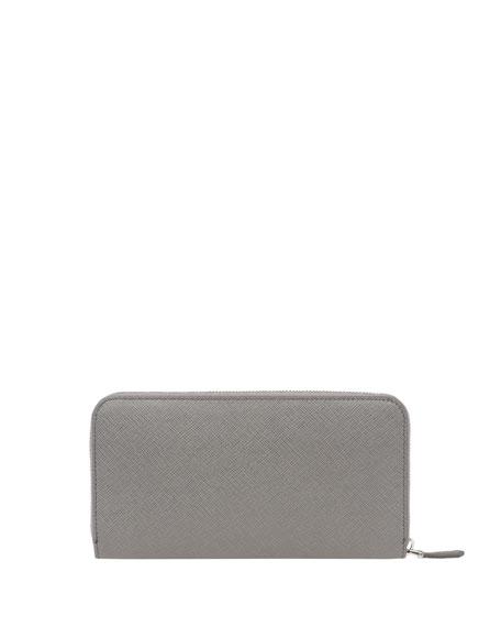 Monochrome Saffiano Shine Zip-Around Wallet