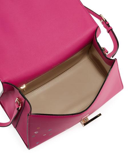 Iside Floral-Print Leather Satchel Bag