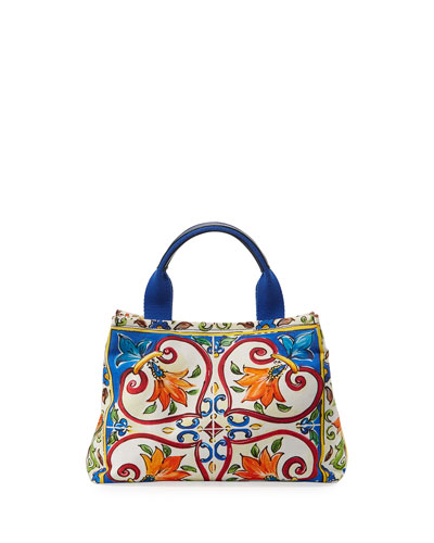 Girls' Maiolica Print Top Handle Bag