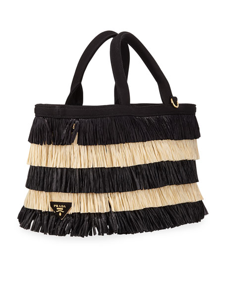 Two-Tone Tiered Raffia Tote Bag