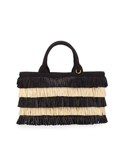 Two-Tone Tiered Raffia Tote Bag