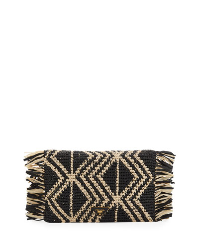 Diamond-Pattern Raffia Clutch Bag