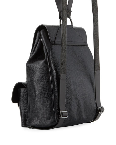 Shiny Leather Flap Backpack