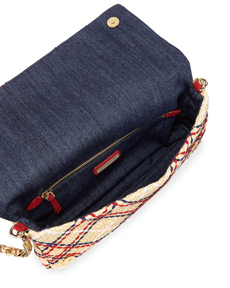 Plaid Woven Straw Clutch Bag w/Chain