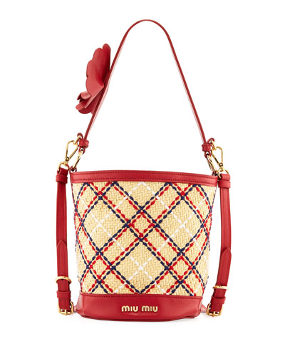 Plaid Strap Bucket Bag