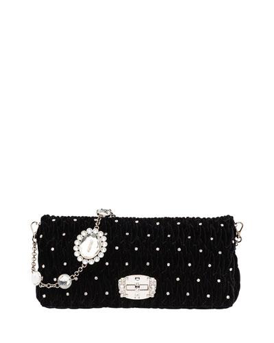 Crystal-Studded Velvet Crossbody Bag
