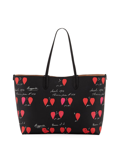 Medium Printed Leather Shopper Tote Bag