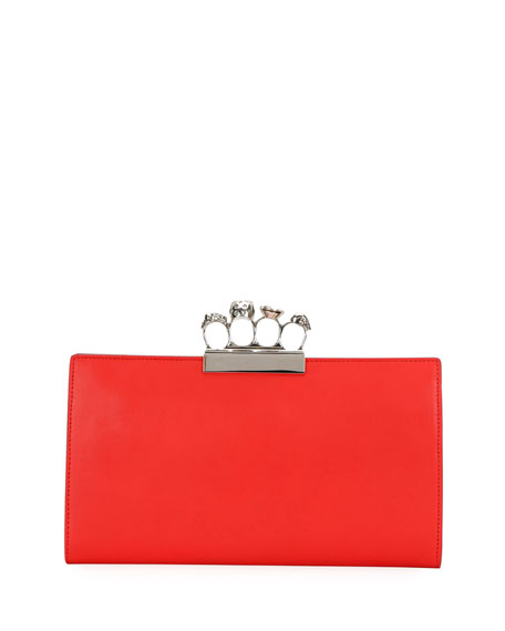Knuckle Beaded Leather Flat Clutch Bag