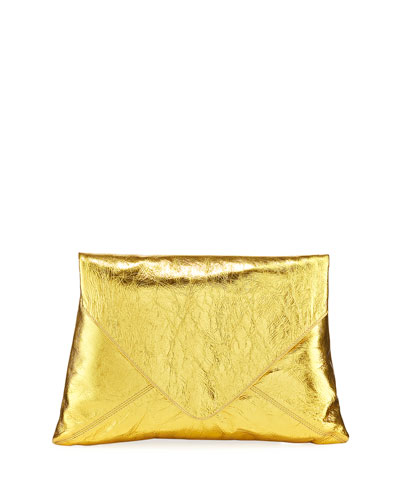 Metallic Leather Envelope Clutch Bag