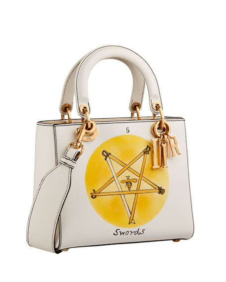 "Lady Dior ""Swords"" Handpainted Motherpeace Tarot Handbag"
