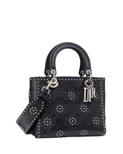 Lady Dior Hotstamped & Embossed Stud Flowers Handbag