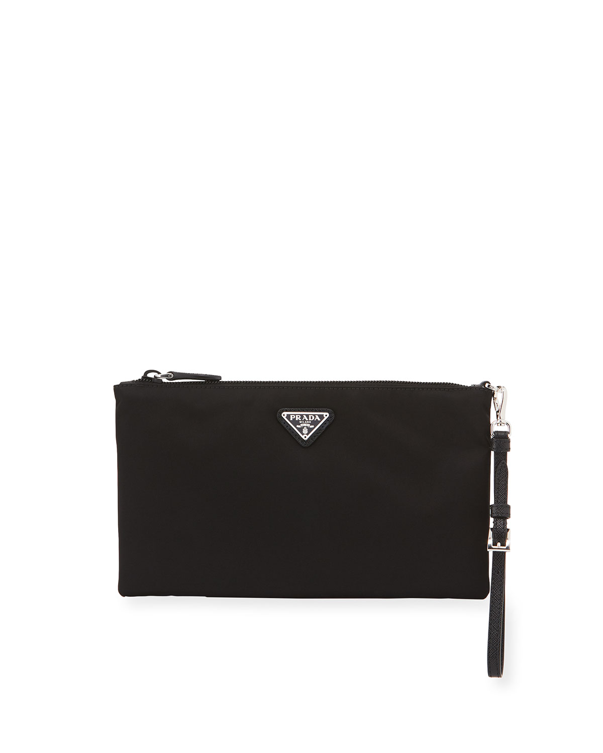 Prada Tops Vela Small Zip Pouch Clutch Bag