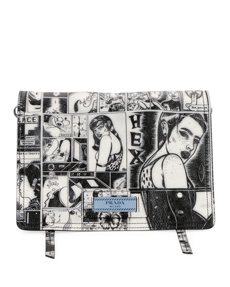 Vintage Comic Glace Calf Shoulder Bag