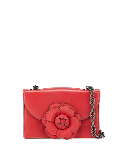 Leather Gardenia Shoulder Bag