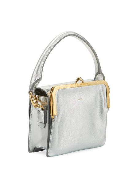 Metallic Leather Satchel Bag